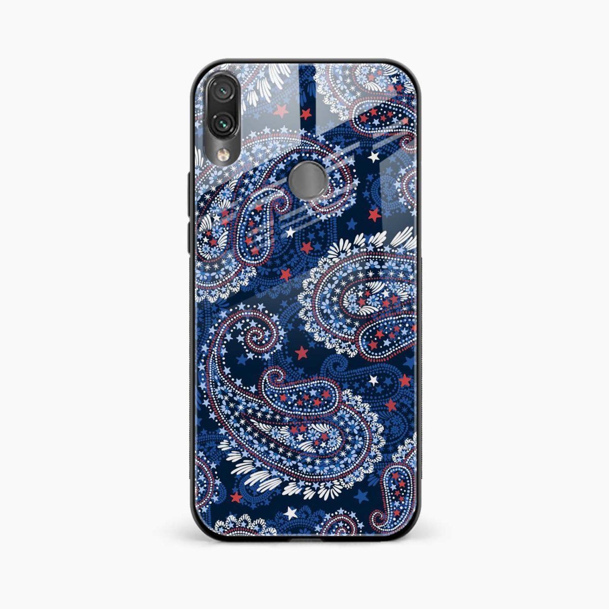 blue colored classical pattern front view redmi note 7 back cover