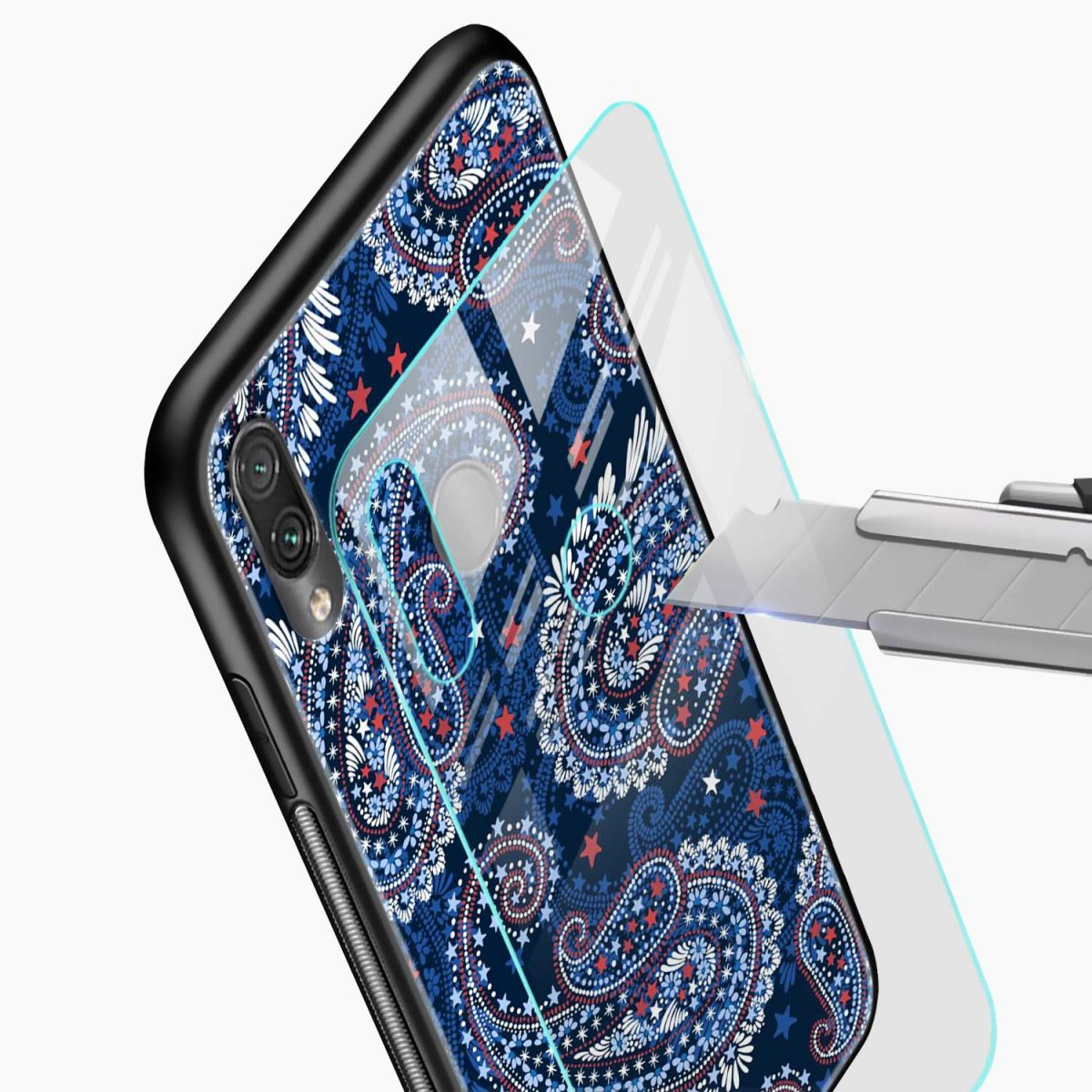 blue colored classical pattern glass view redmi note7 back cover