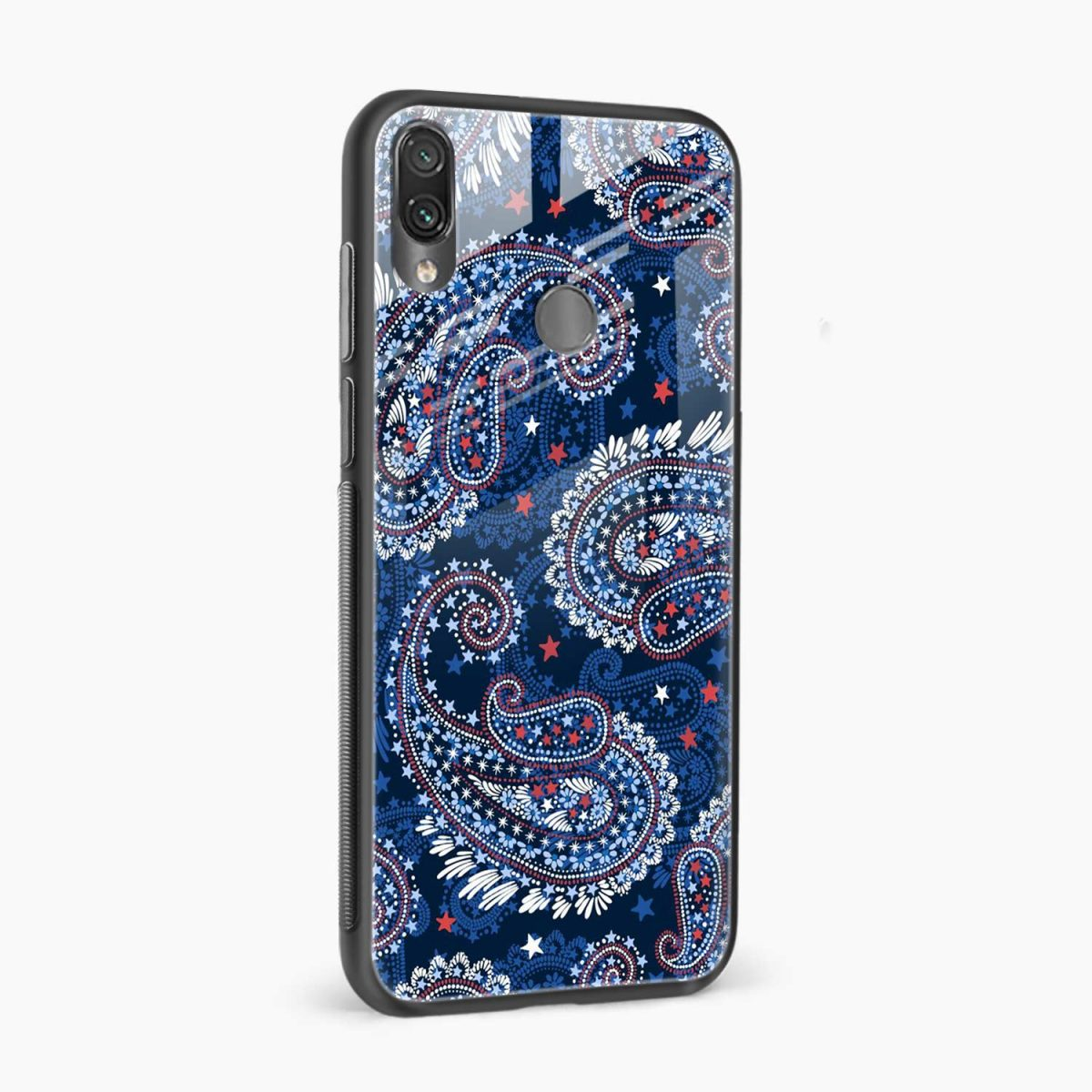 blue colored classical pattern side view redmi note7 back cover