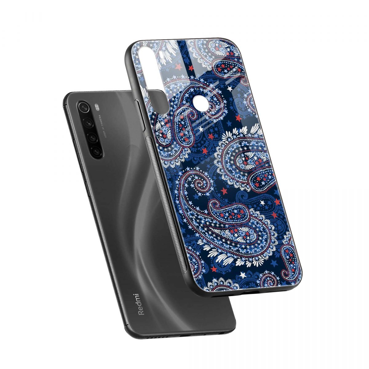 blue colored classical pattern diagonal view redmi note 8 back cover