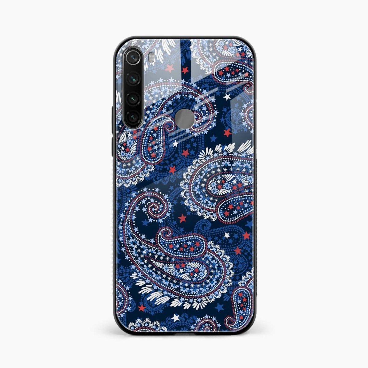 blue colored classical pattern front view redmi note 8 back cover