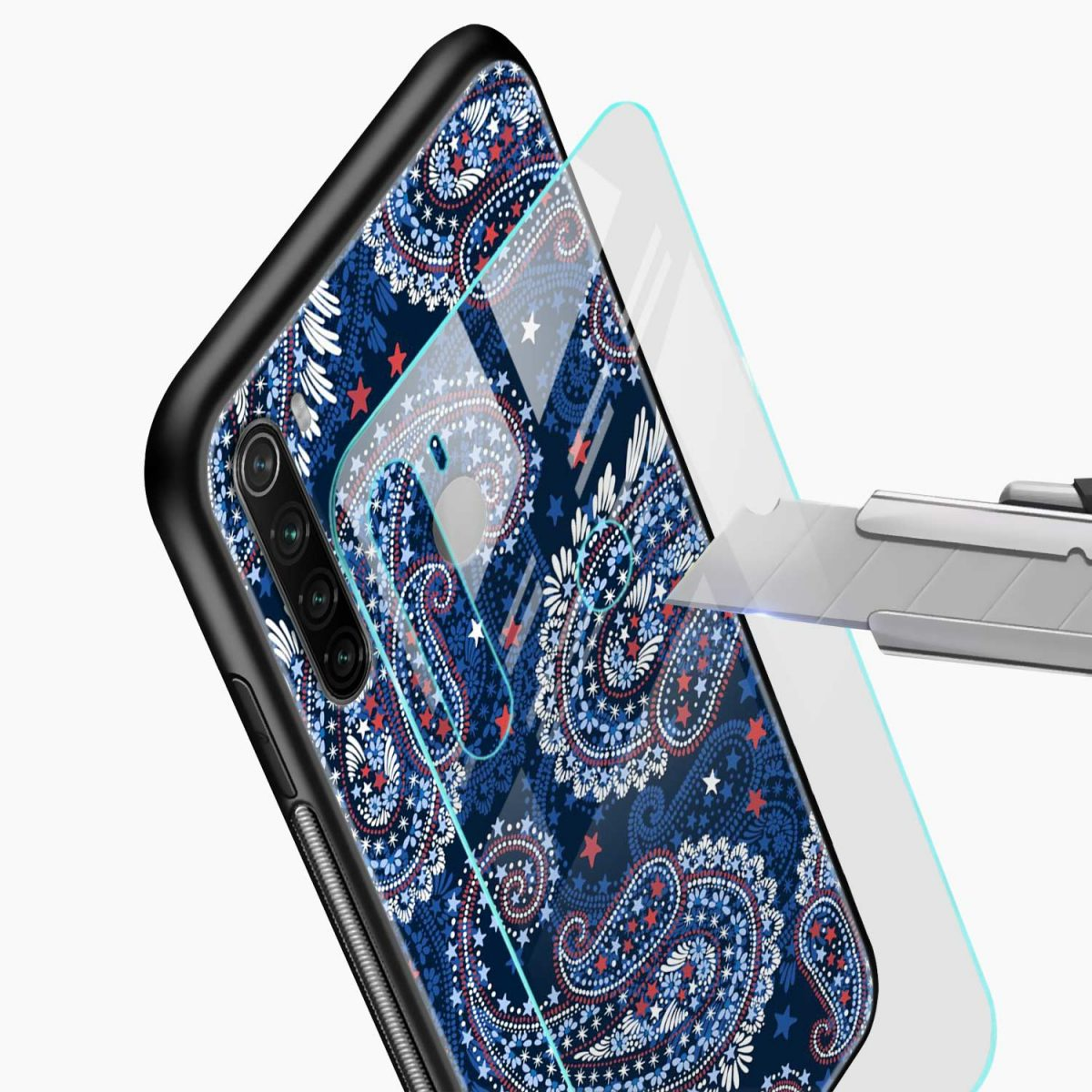blue colored classical pattern glass view redmi note 8 back cover