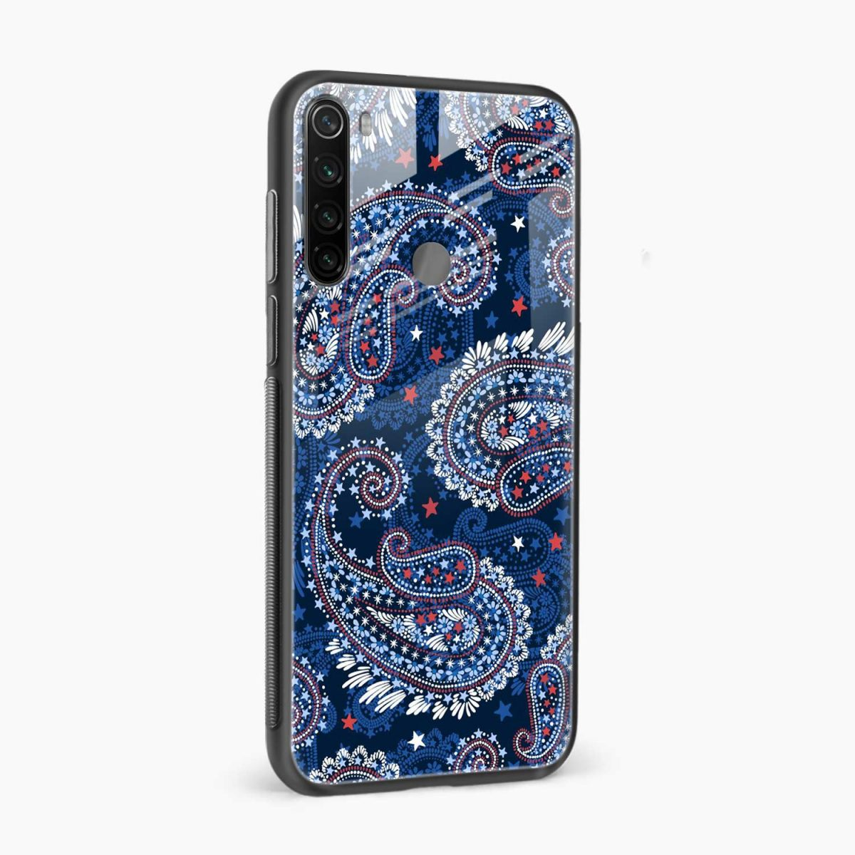 blue colored classical pattern side view redmi note 8 back cover