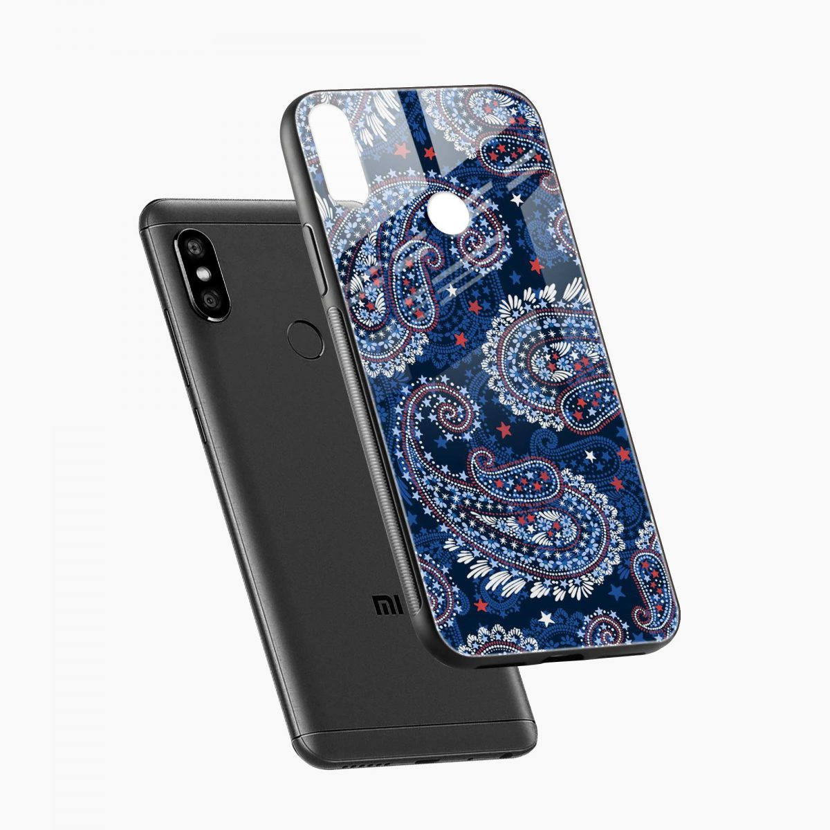 blue colored classical pattern redmi note 5 pro back cover diagonal view