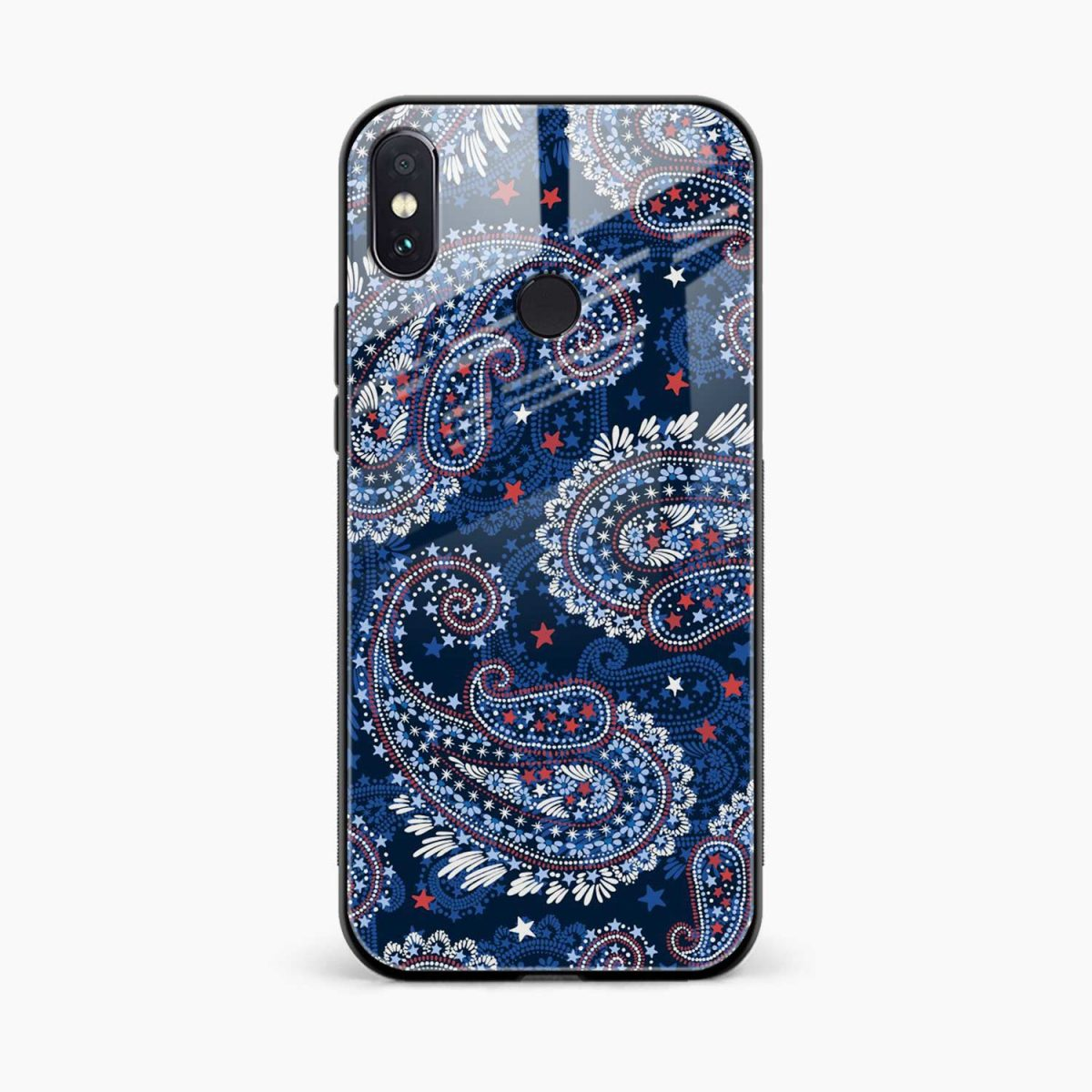 blue colored classical pattern redmi note 5 pro back cover front view