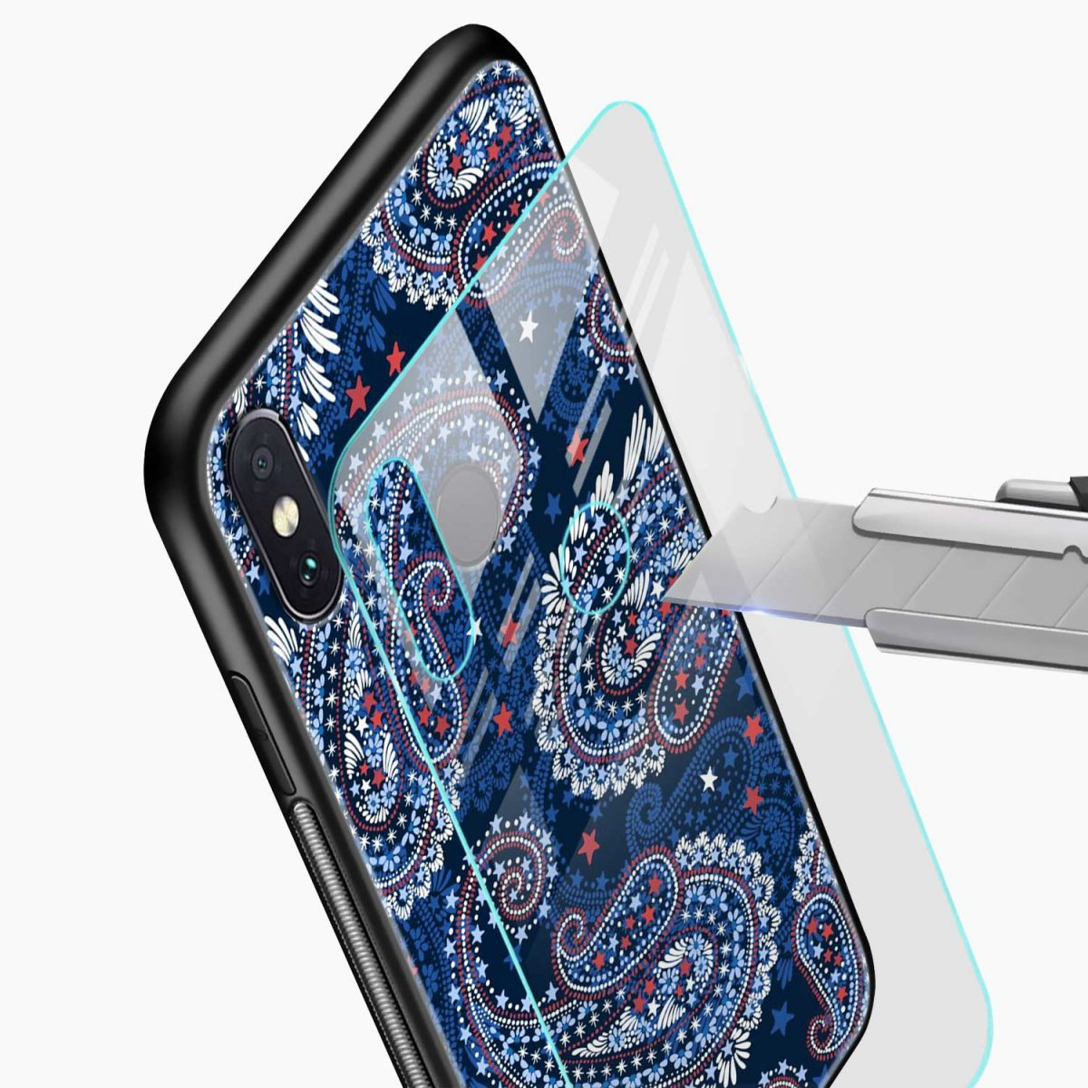 blue colored classical pattern redmi note 5 pro back cover glass view