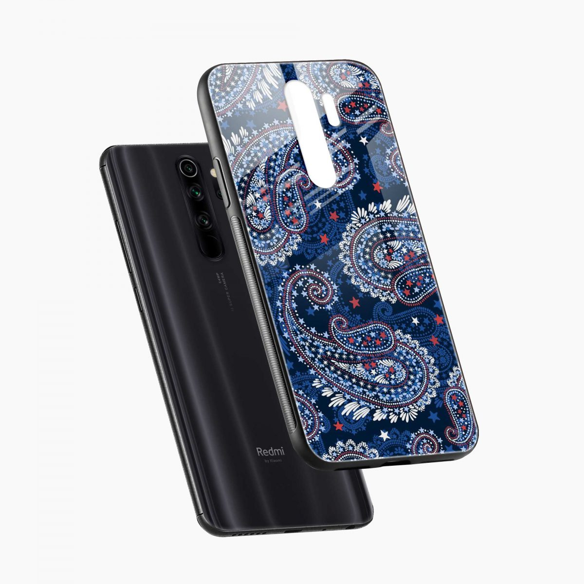 blue colored classical pattern diagonal view redmi note 8 pro back cover
