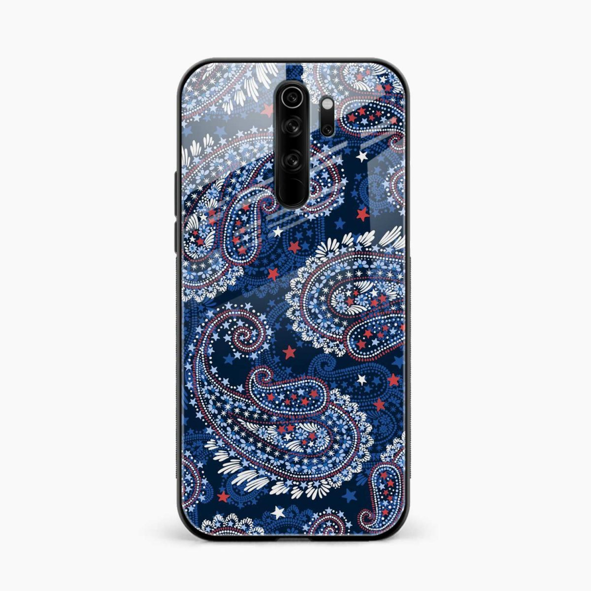 rblue colored classical pattern edmi note 8 pro back cover front view