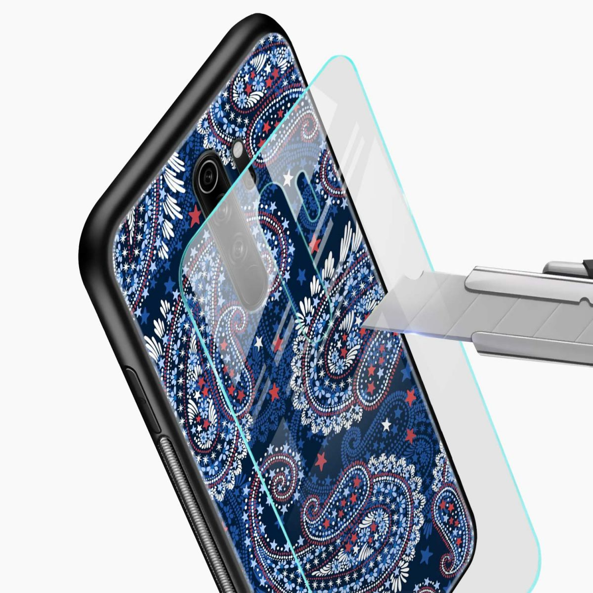 blue colored classical pattern redmi note 8 pro back cover glass view