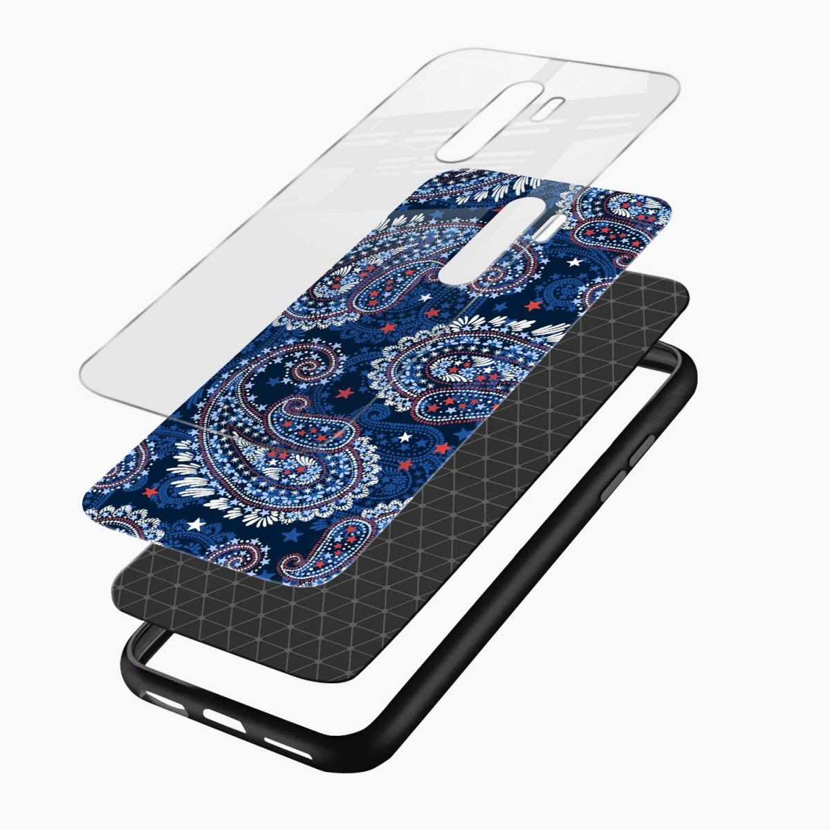 blue colored classical pattern redmi note 8 pro back cover layers view