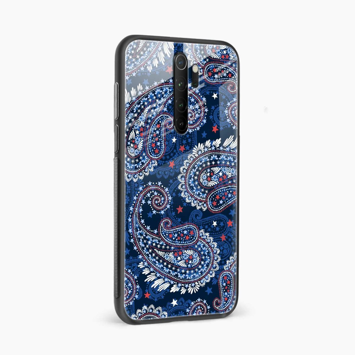 blue colored classical pattern redmi note 8 pro back cover side view