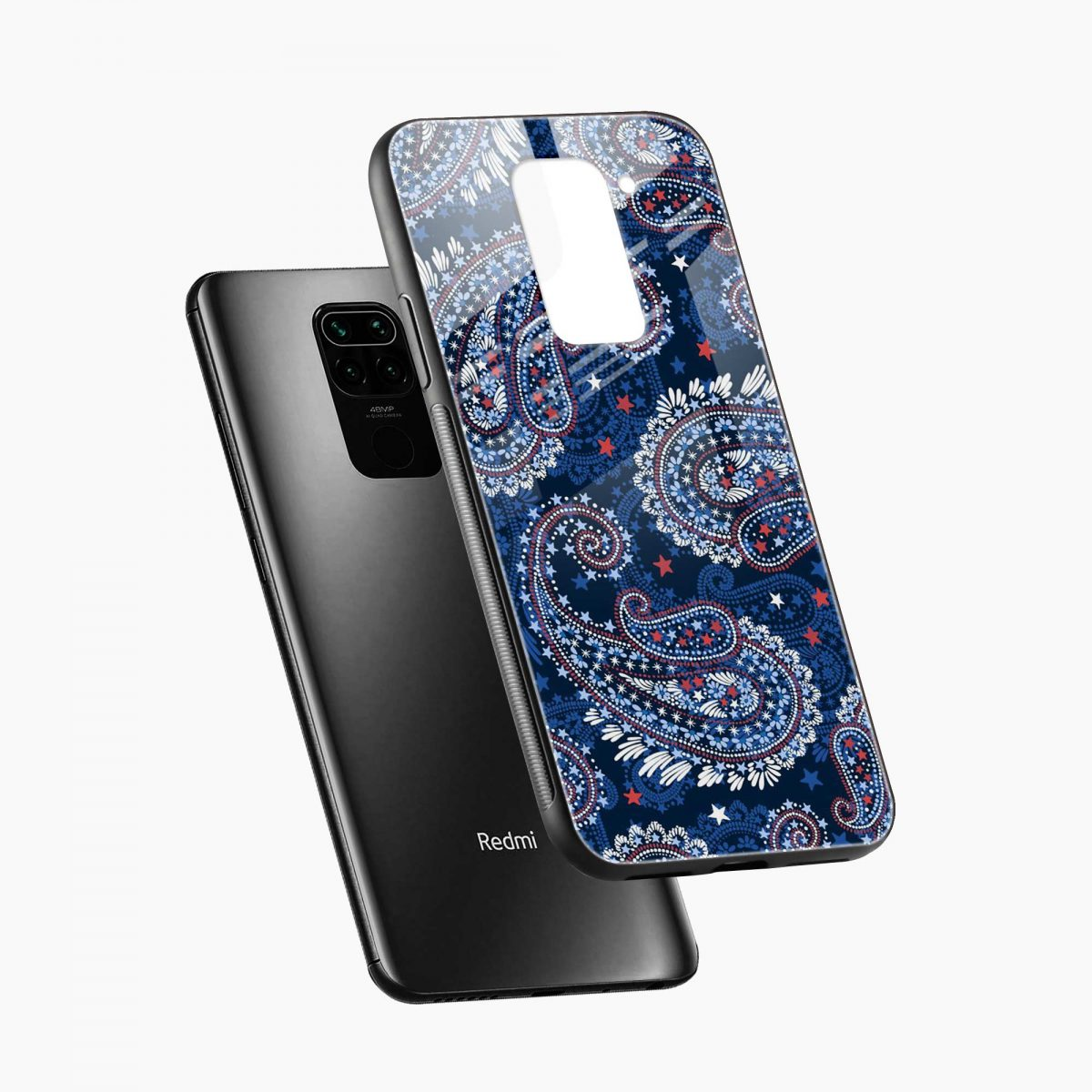 blue colored classical pattern diagonal view redmi note 9 back cover