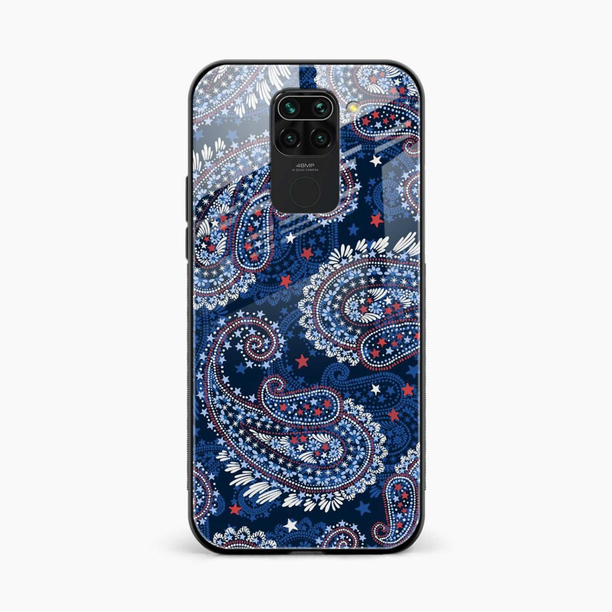 blue colored classical pattern front view redmi note 9 back cover