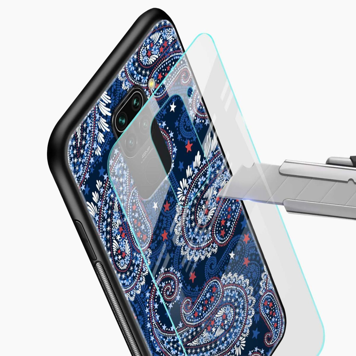 blue colored classical pattern glass view redmi note 9 back cover