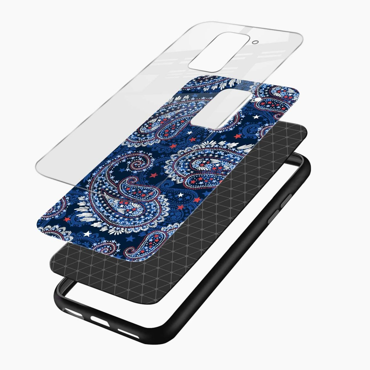 blue colored classical pattern layers view redmi note 9 back cover