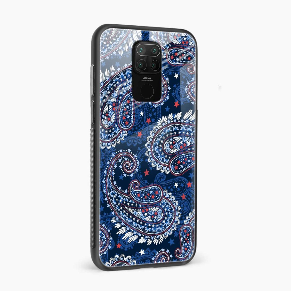 blue colored classical pattern side view redmi note 9 back cover