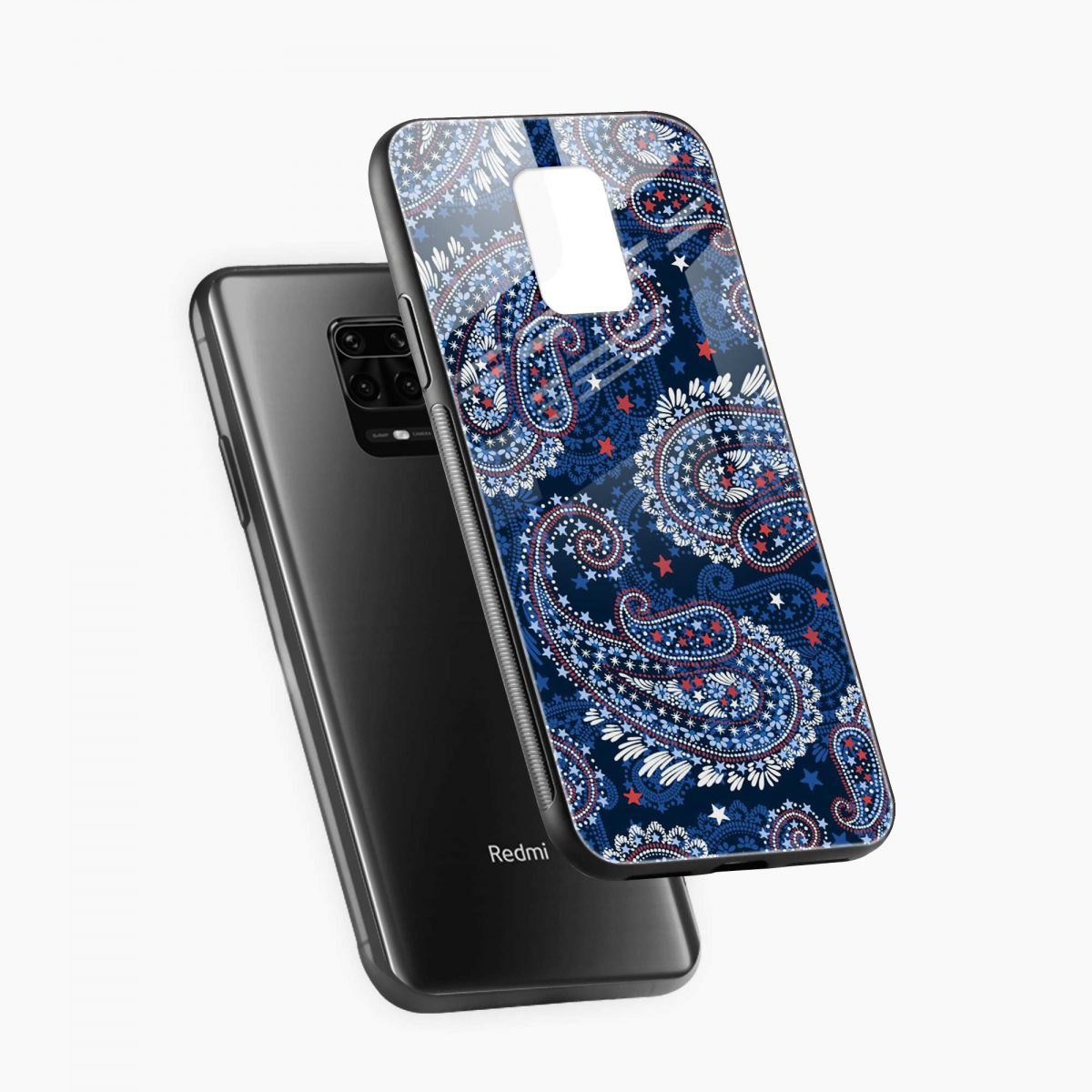 blue colored classical pattern diagonal view redmi note9 back cover