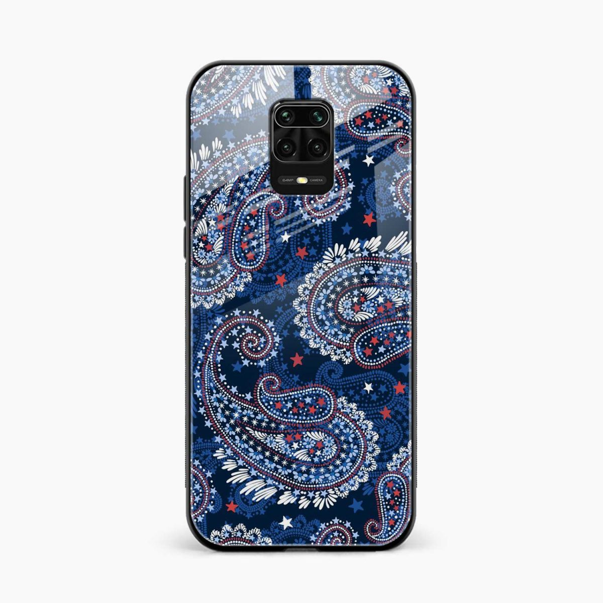 blue colored classical pattern front view redmi note9 back cover