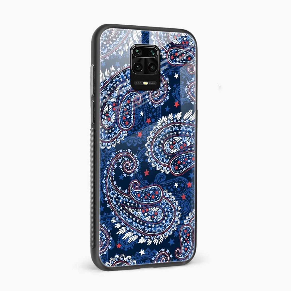 blue colored classical pattern side view redmi note9 back cover