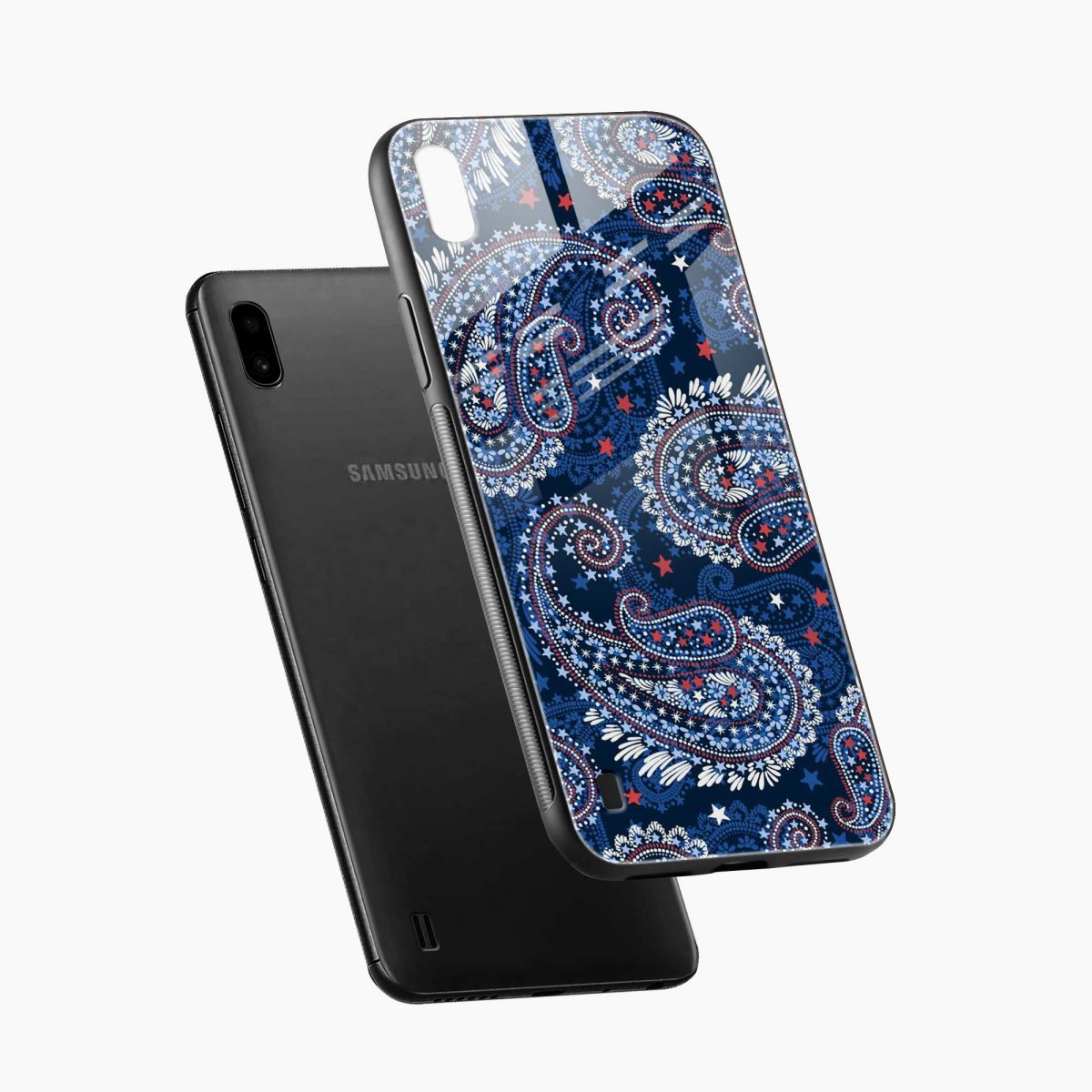 blue colored classical pattern diagonal view samsung galaxy a10 back cover