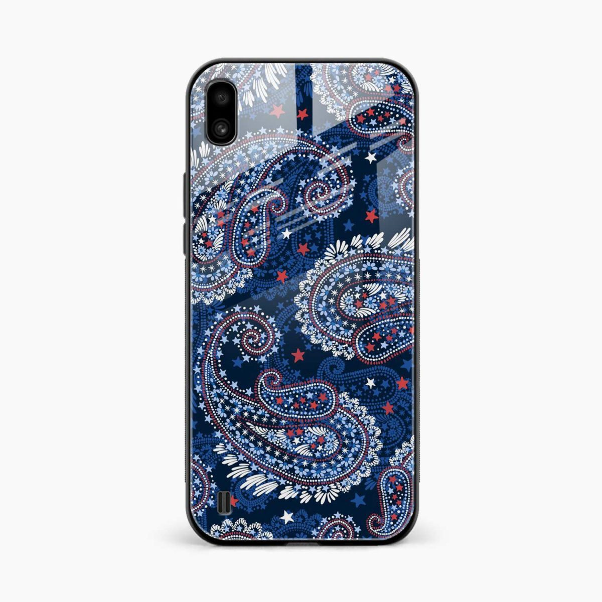 blue colored classical pattern front view samsung galaxy a10 back cover