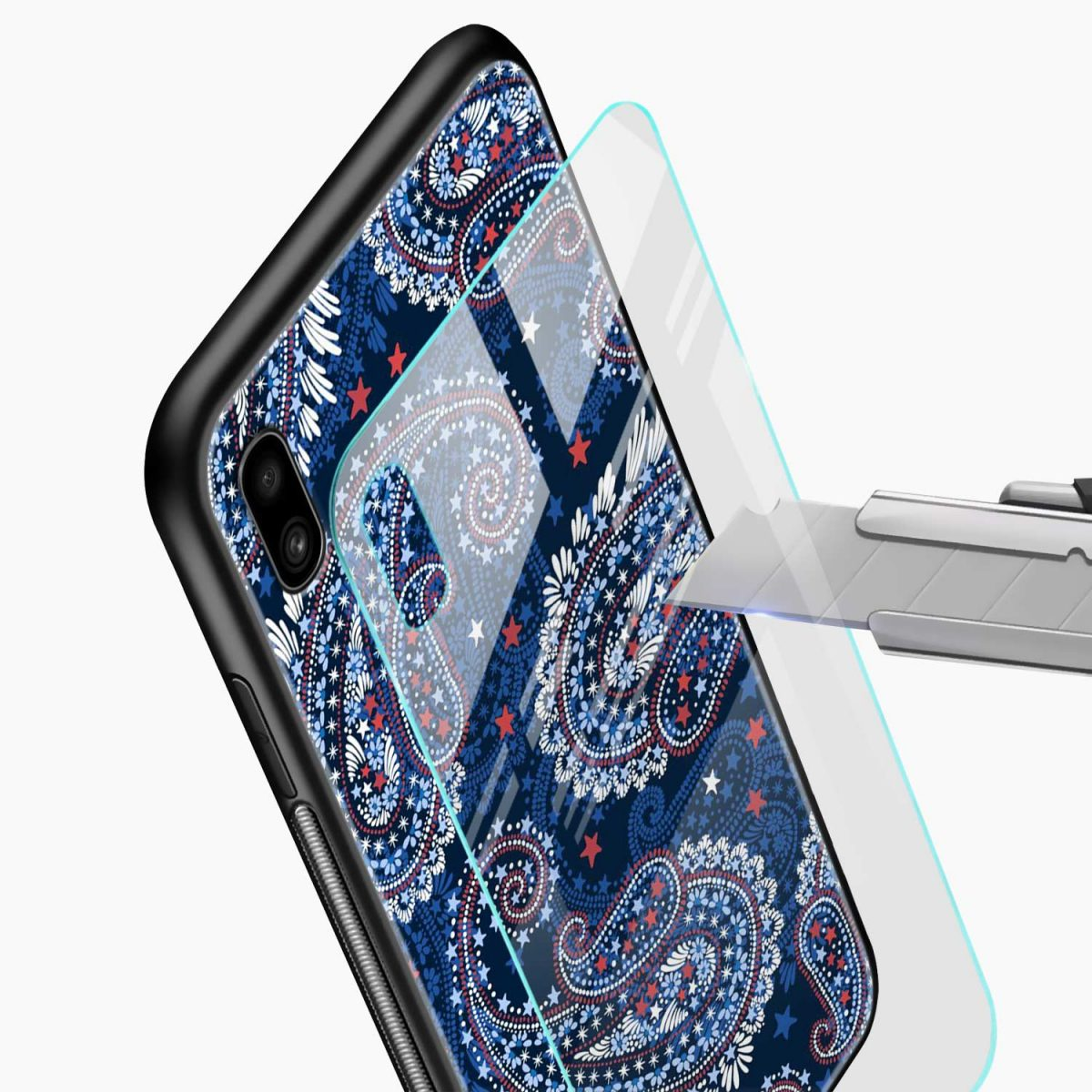 blue colored classical pattern glass view samsung galaxy a10 back cover