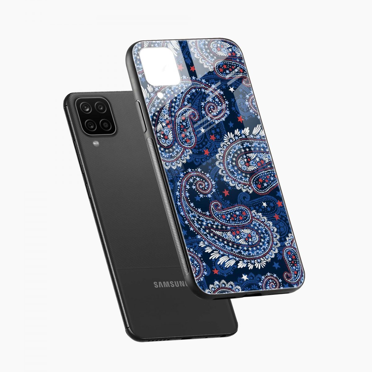 blue colored classical pattern diagonal view samsung galaxy a12 back cover