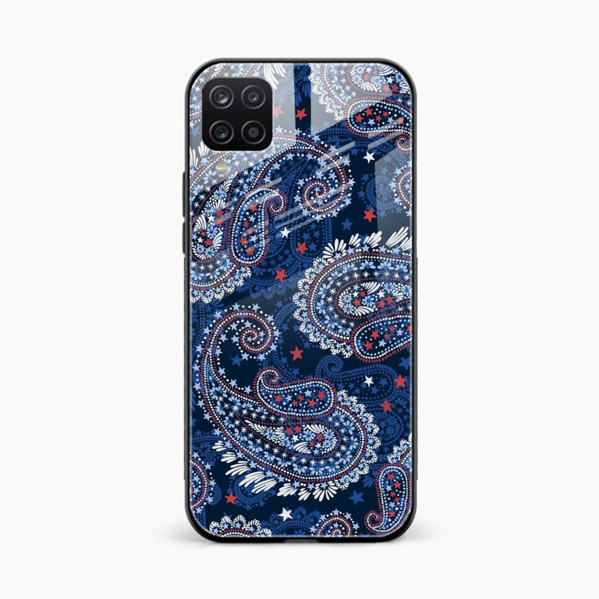 blue colored classical pattern front view samsung galaxy a12 back cover