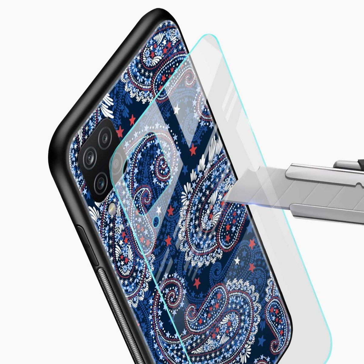 blue colored classical pattern glass view samsung galaxy a12 back cover