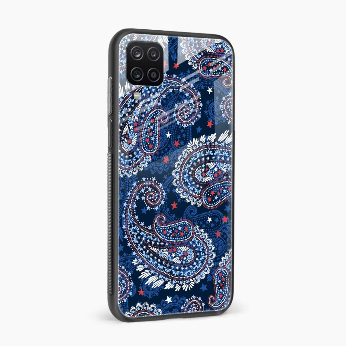 blue colored classical pattern side view samsung galaxy a12 back cover