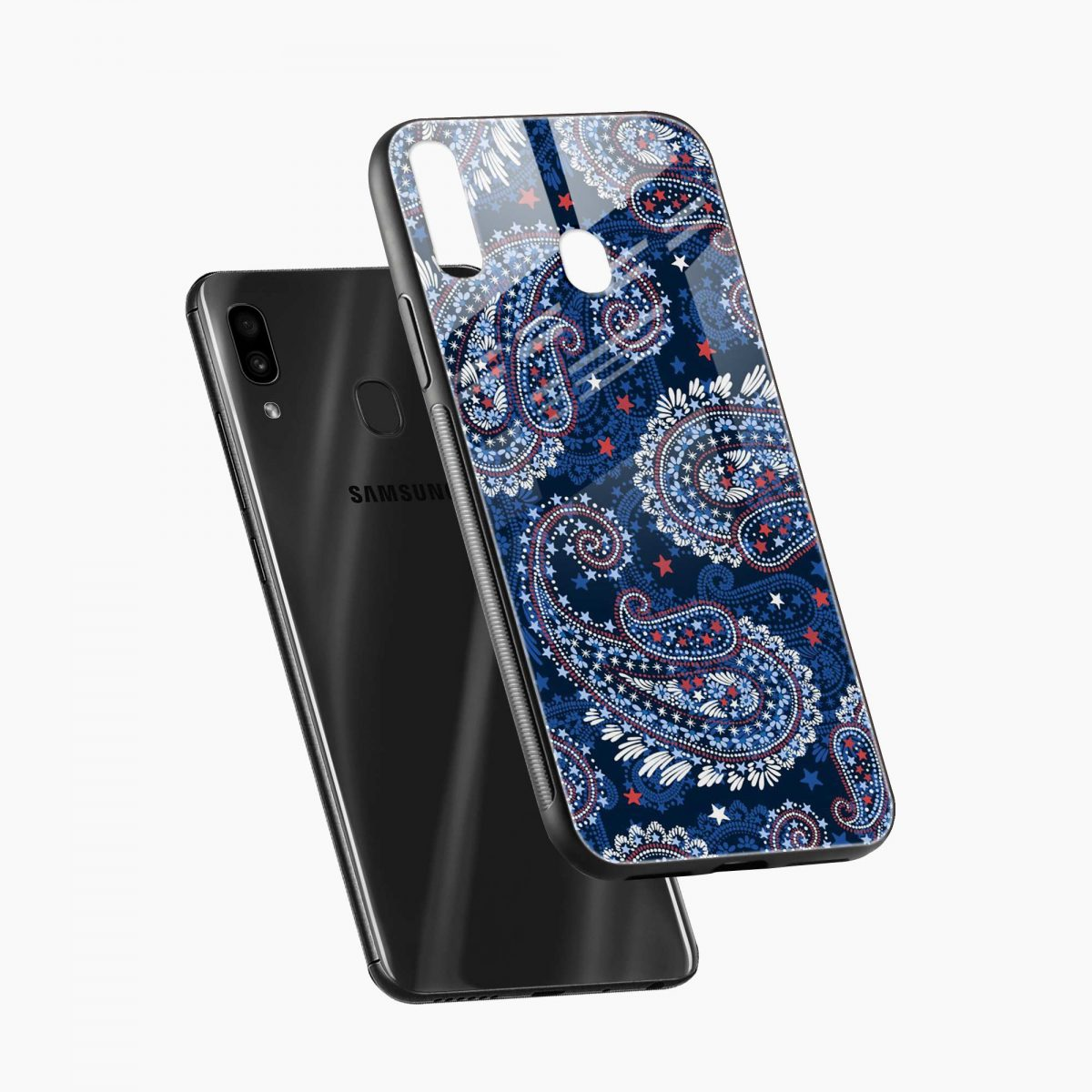 blue colored classical pattern diagonal view samsung galaxy a30 back cover