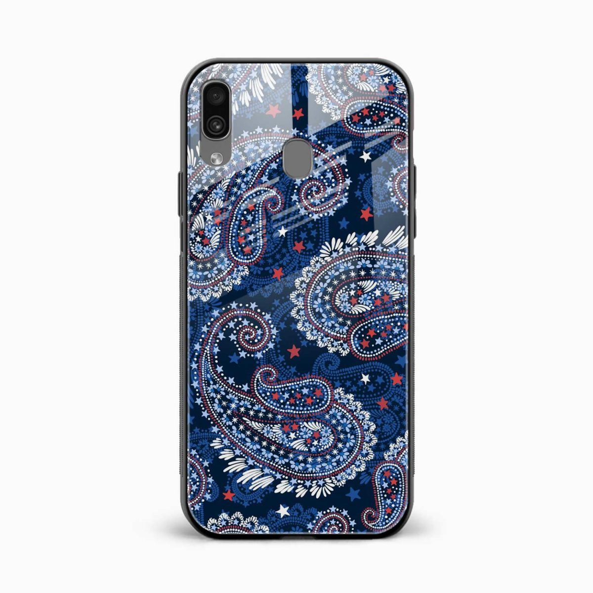 blue colored classical pattern front view samsung galaxy a30 back cover