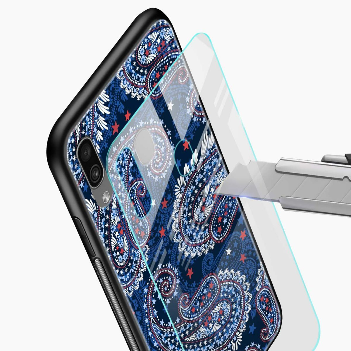 blue colored classical pattern glass view samsung galaxy a30 back cover