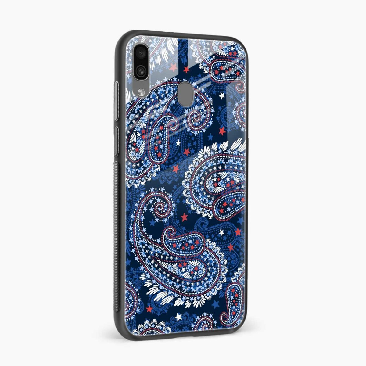 blue colored classical pattern side view samsung galaxy a30 back cover