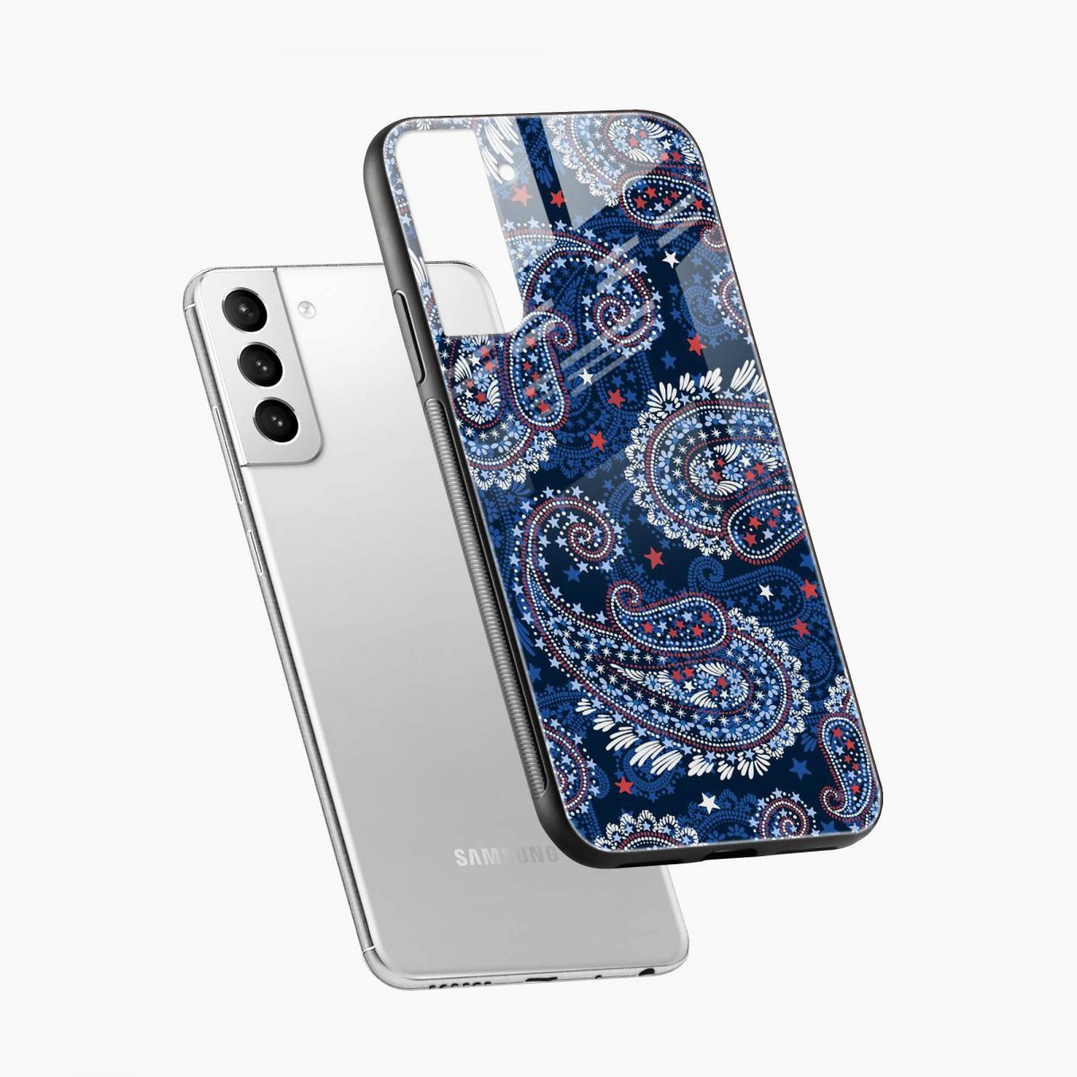 blue colored classical pattern diagonal view samsung s21 plug back cover