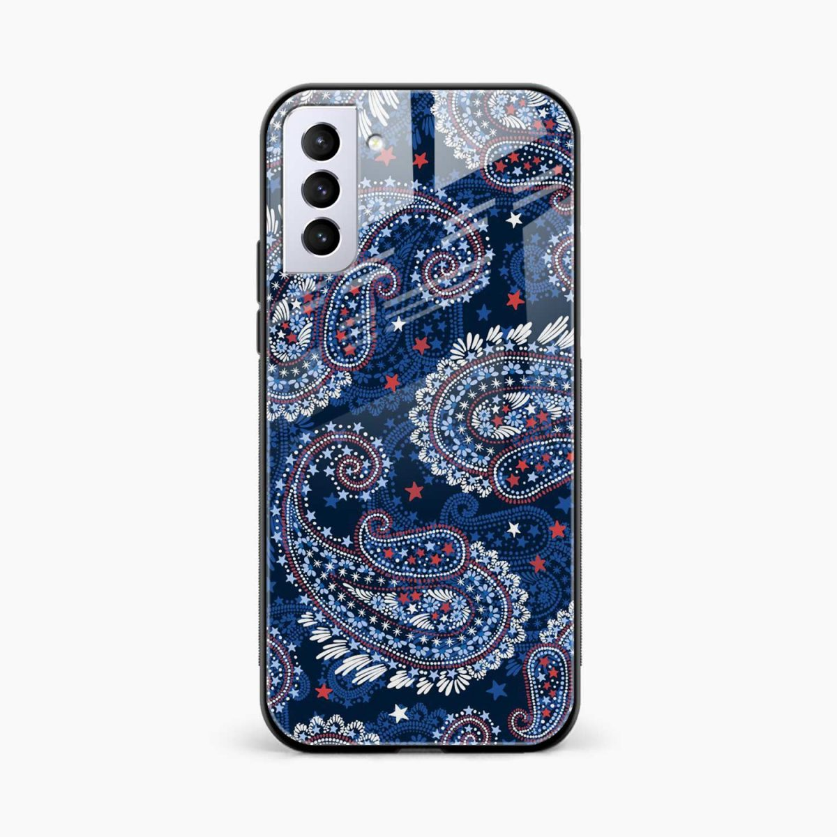 blue colored classical pattern front view samsung s21 plug back cover