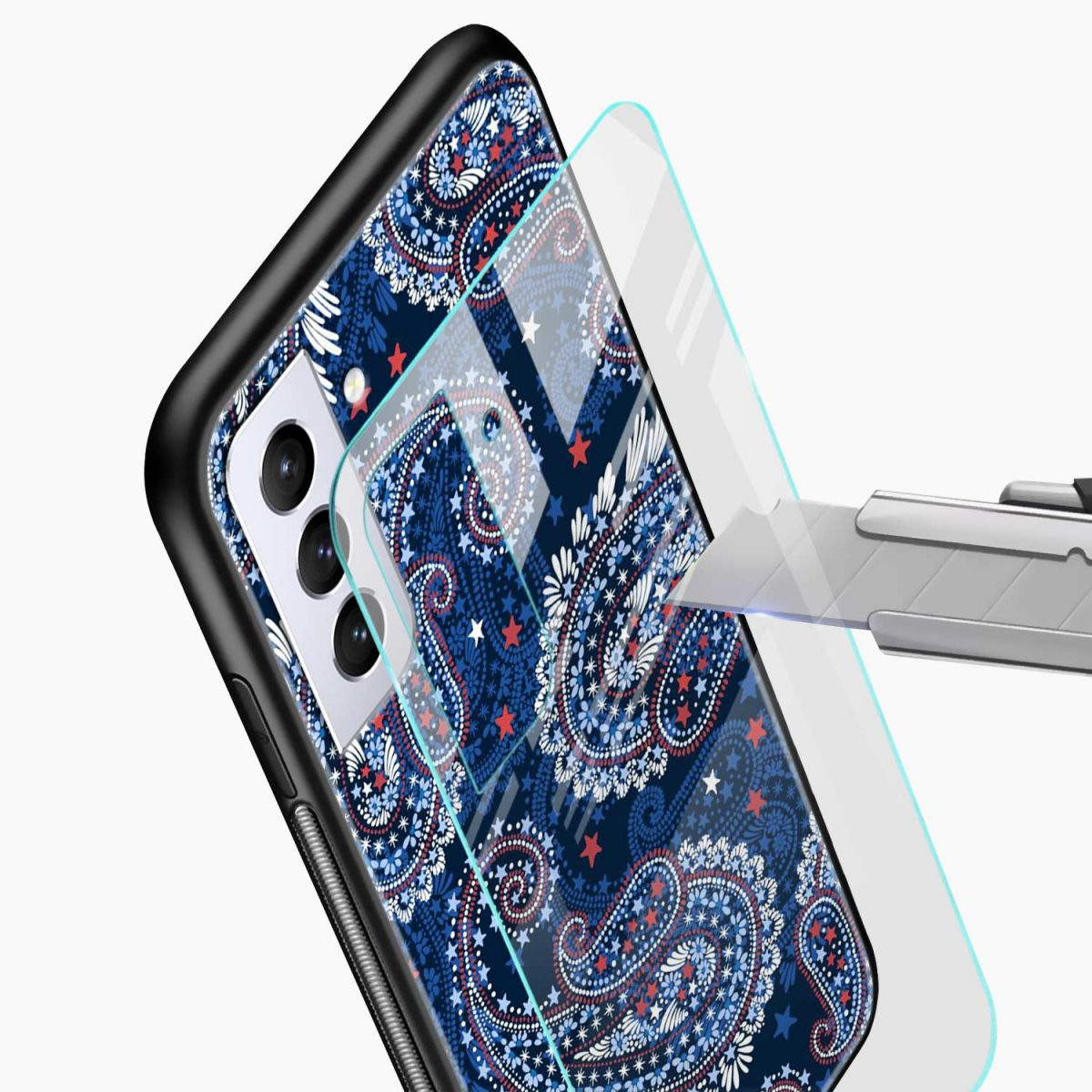 blue colored classical pattern glass view samsung s21 plug back cover