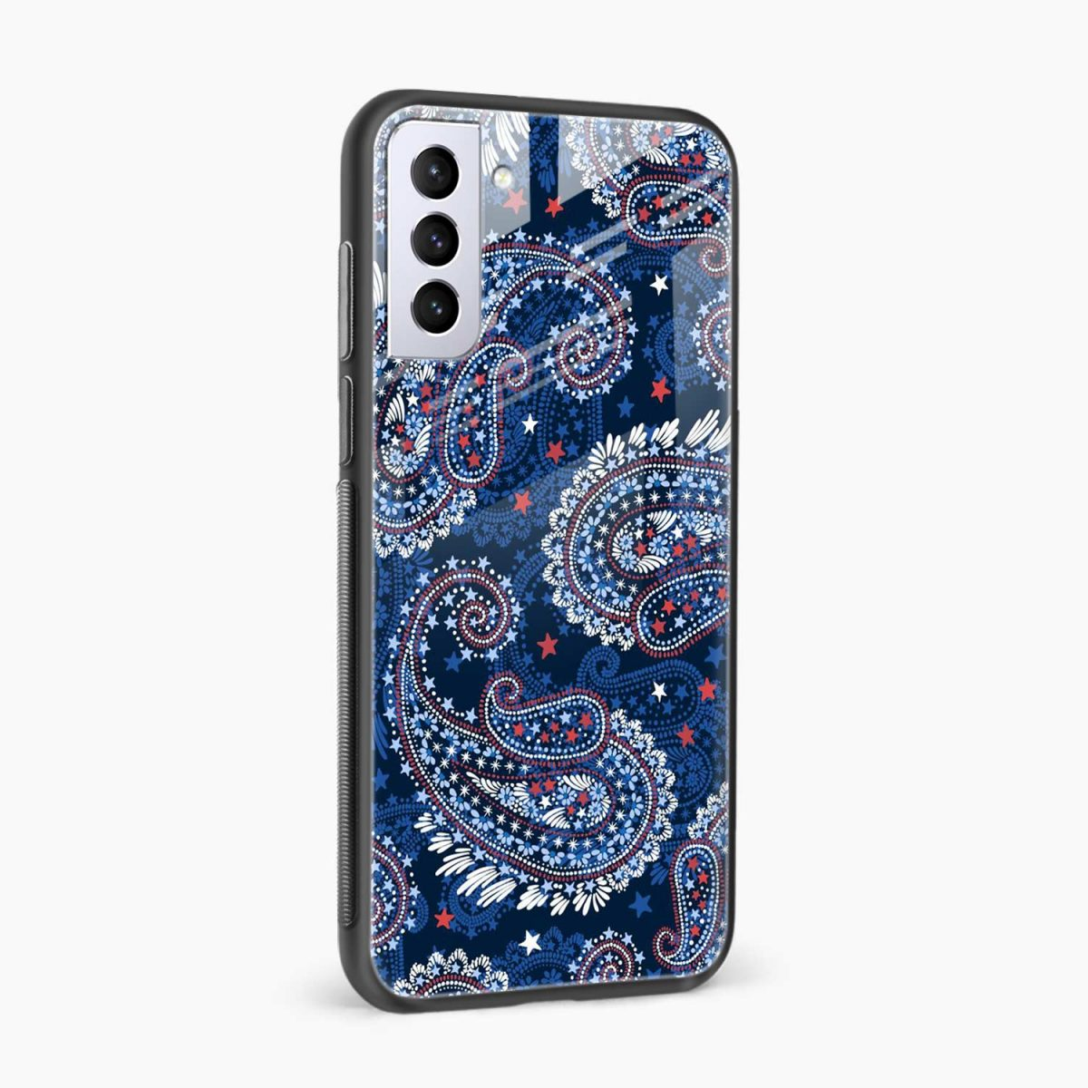 blue colored classical pattern side view samsung s21 plug back cover