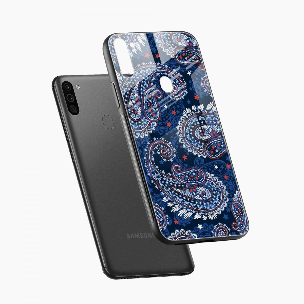 blue colored classical pattern diagonal view samsung galaxy m11 back cover
