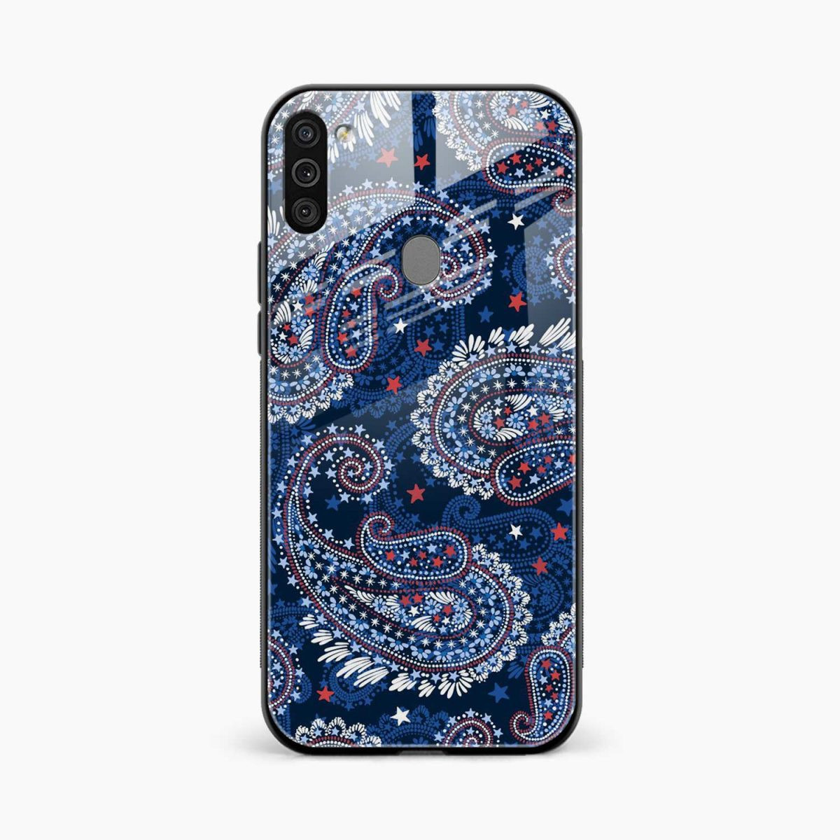 blue colored classical pattern front view samsung galaxy m11 back cover