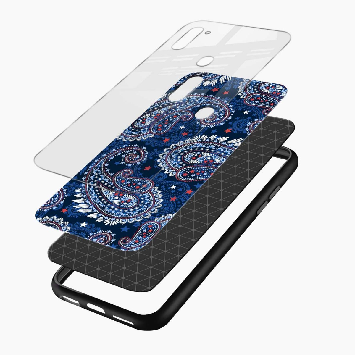 blue colored classical pattern layers view samsung galaxy m11 back cover