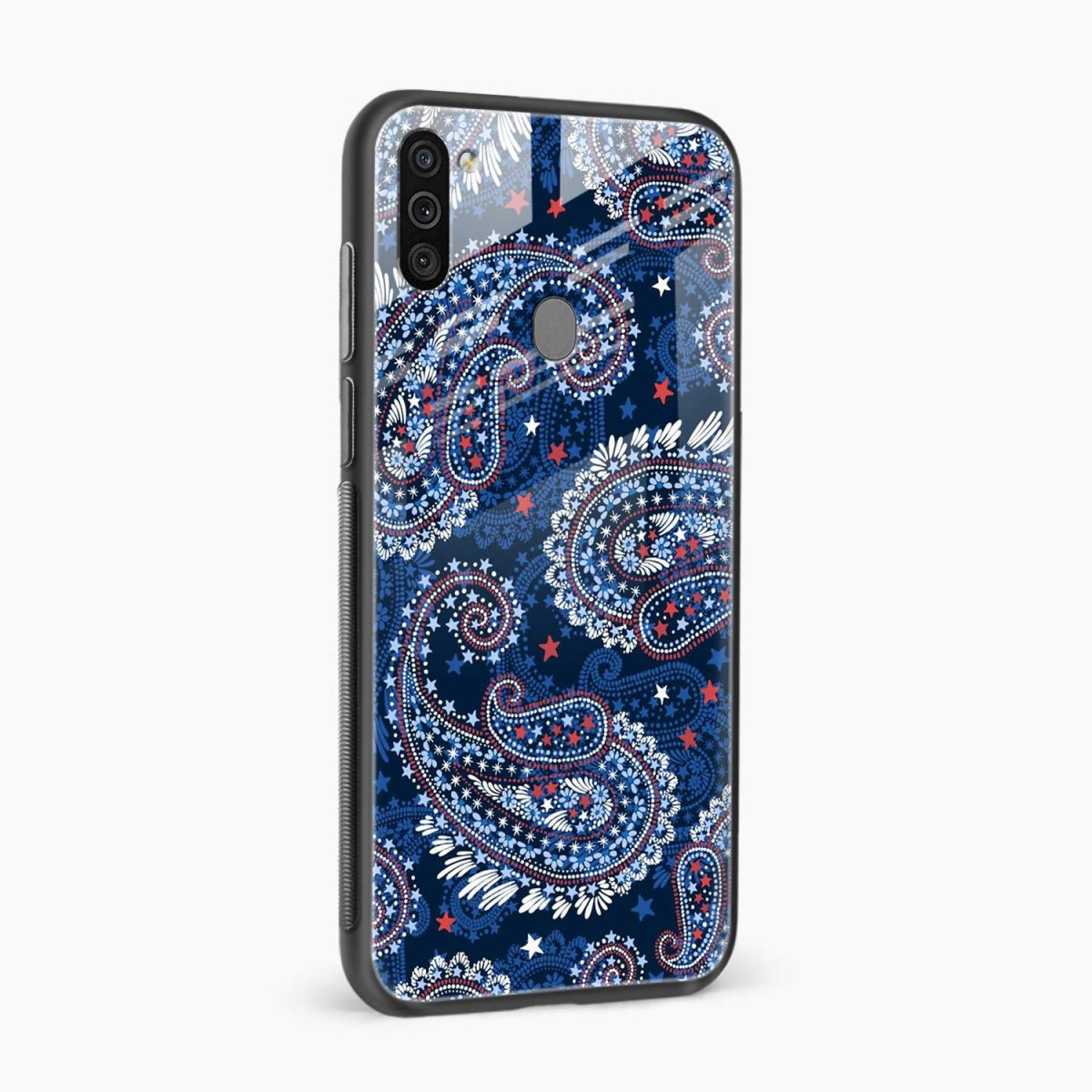blue colored classical pattern side view samsung galaxy m11 back cover