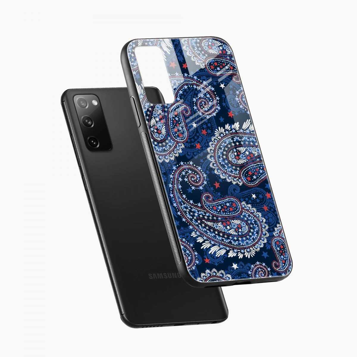 blue colored classical pattern diagonal view samsung galaxy s20 fe back cover