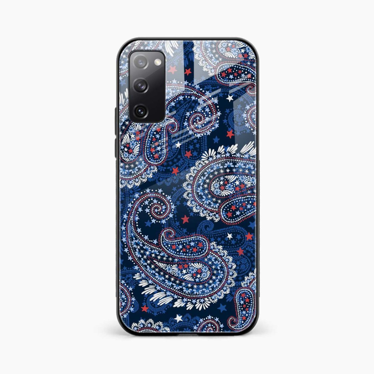 blue colored classical pattern front view samsung galaxy s20 fe back cover