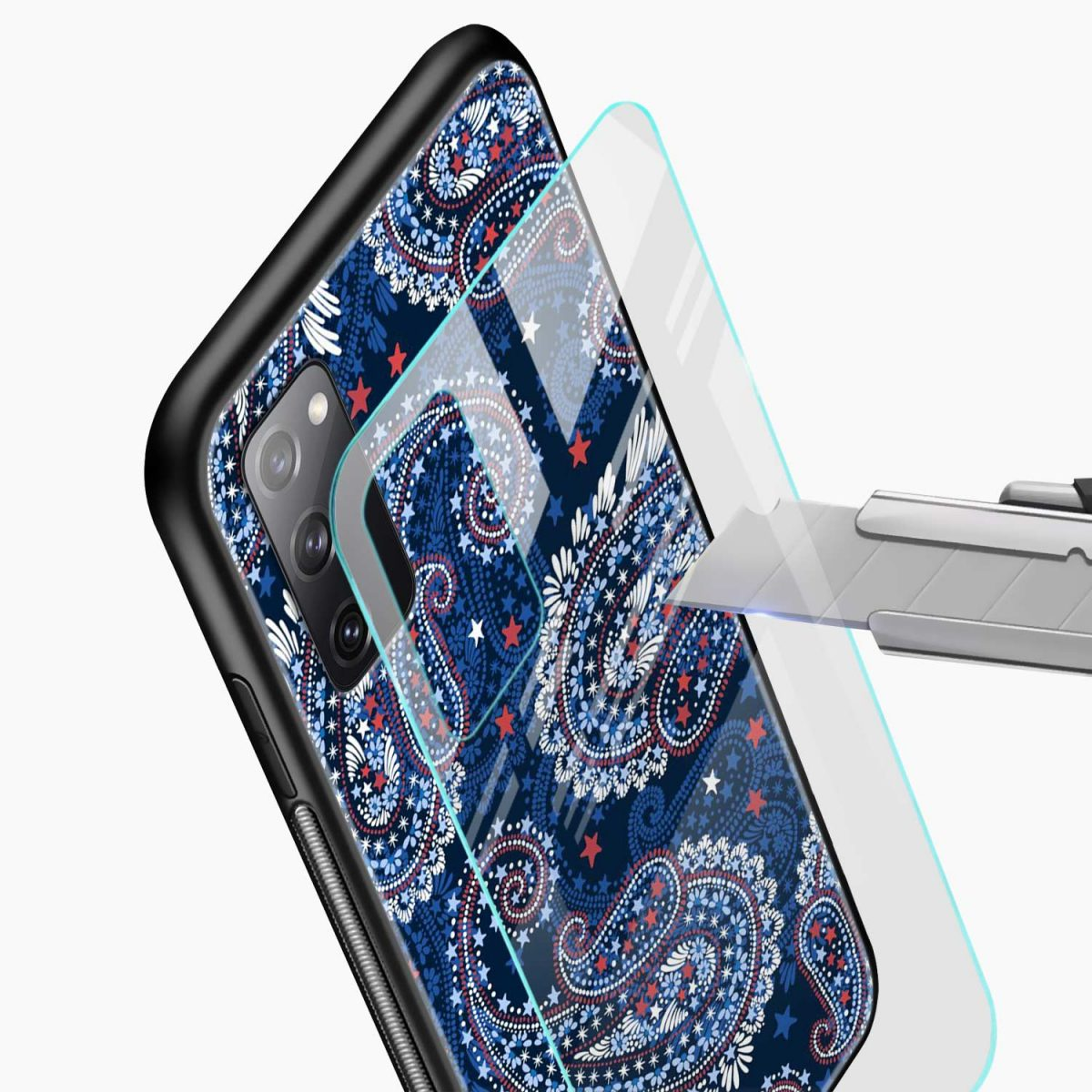 blue colored classical pattern glass view samsung galaxy s20 fe back cover
