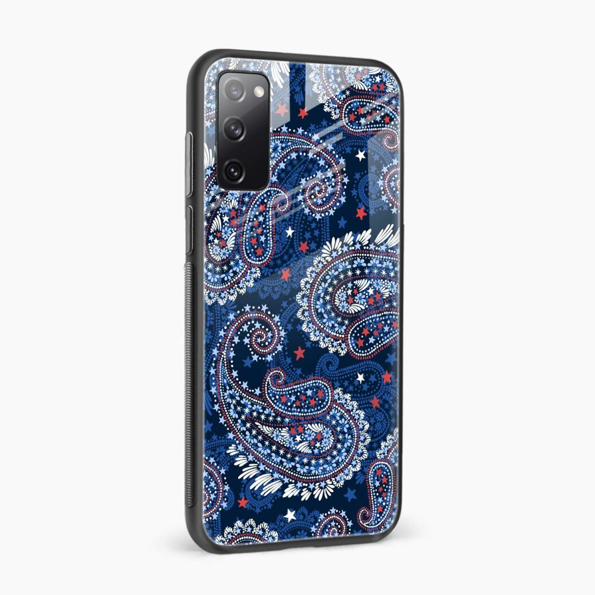 blue colored classical pattern side view samsung galaxy s20 fe back cover
