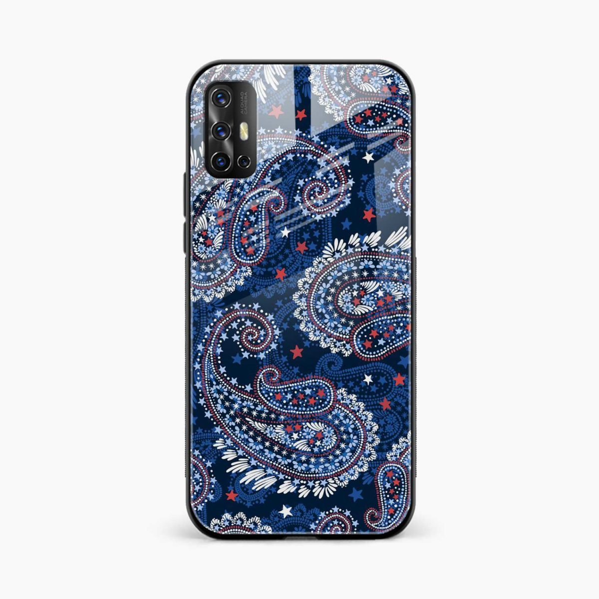 blue colored classical pattern front view vivo v17 back cover