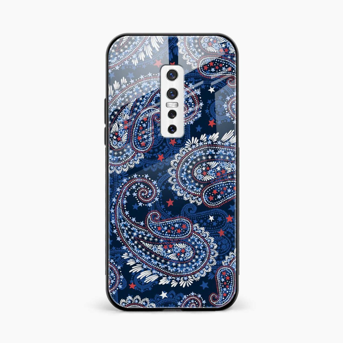 blue colored classical pattern front view vivo v17 plug back cover