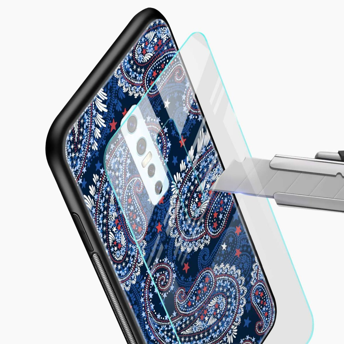 blue colored classical pattern glass view vivo v17 plug back cover