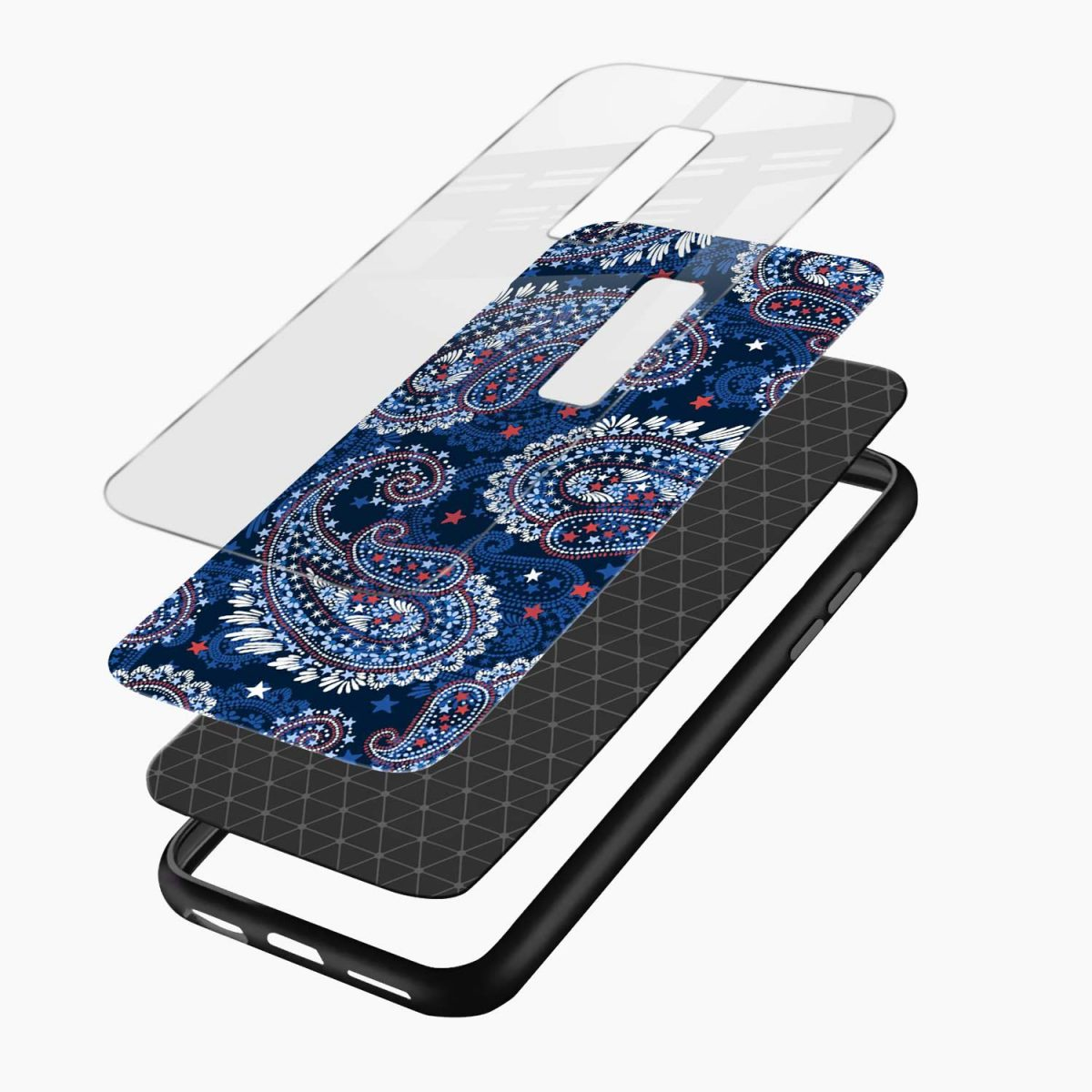 blue colored classical pattern layers view vivo v17 plug back cover